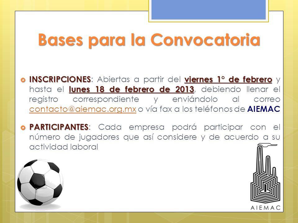 Bases para la Convocatoria INSCRIPCIONESviernes 1° de febrero lunes 18 de febrero de 2013 INSCRIPCIONES : Abiertas a partir del viernes 1° de febrero
