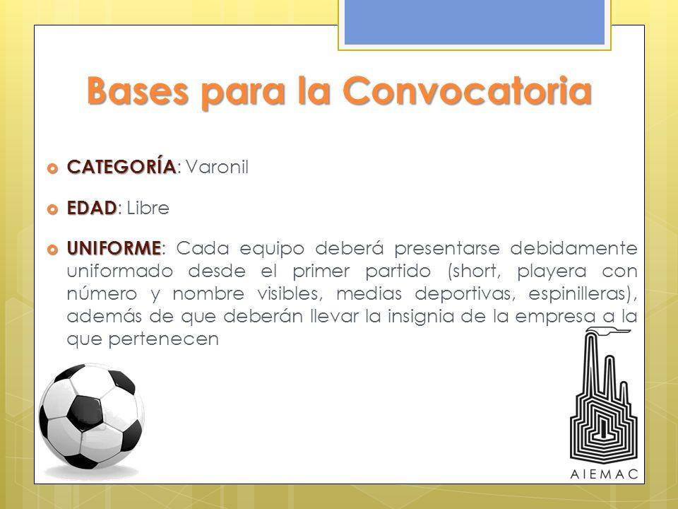 Bases para la Convocatoria CATEGORÍA CATEGORÍA : Varonil EDAD EDAD : Libre UNIFORME UNIFORME : Cada equipo deberá presentarse debidamente uniformado d