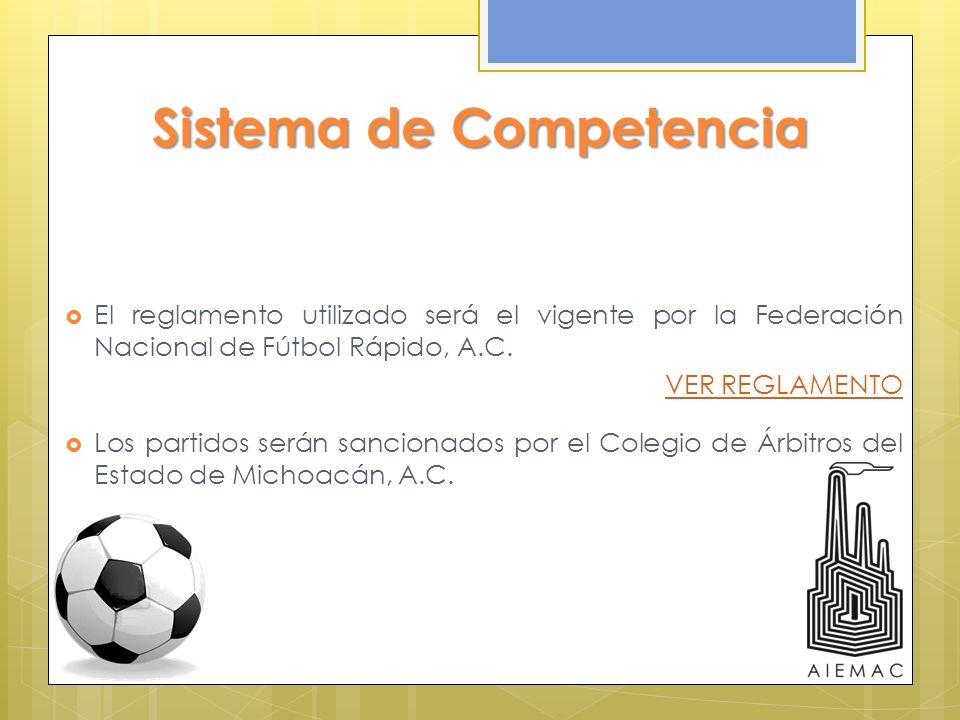 Sistema de Competencia El reglamento utilizado será el vigente por la Federación Nacional de Fútbol Rápido, A.C. VER REGLAMENTO Los partidos serán san