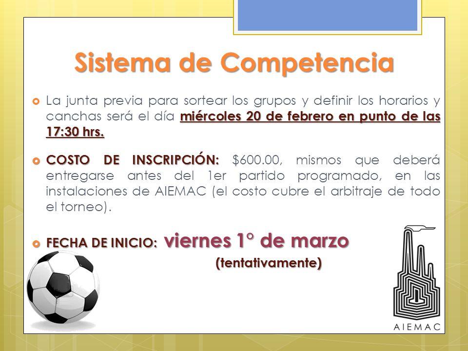 Sistema de Competencia miércoles 20 de febrero en punto de las 17:30 hrs. La junta previa para sortear los grupos y definir los horarios y canchas ser