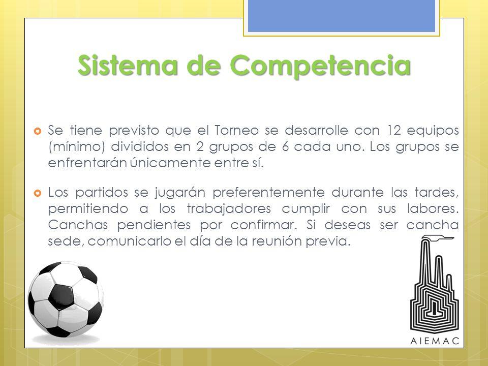 Sistema de Competencia Se tiene previsto que el Torneo se desarrolle con 12 equipos (mínimo) divididos en 2 grupos de 6 cada uno. Los grupos se enfren