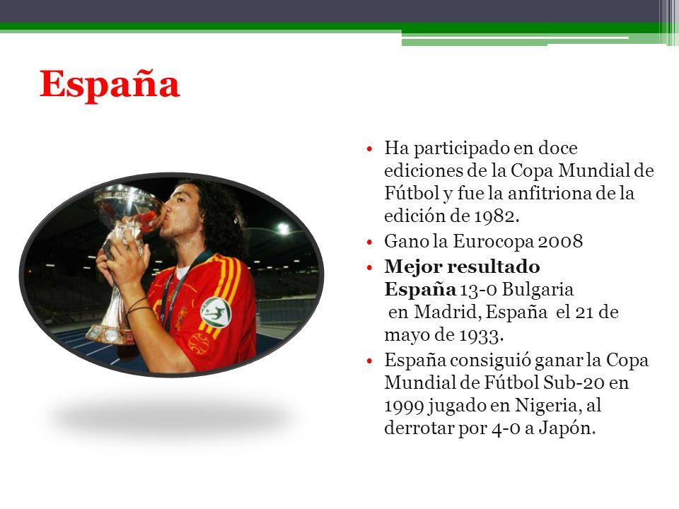 España Ha participado en doce ediciones de la Copa Mundial de Fútbol y fue la anfitriona de la edición de 1982. Gano la Eurocopa 2008 Mejor resultado