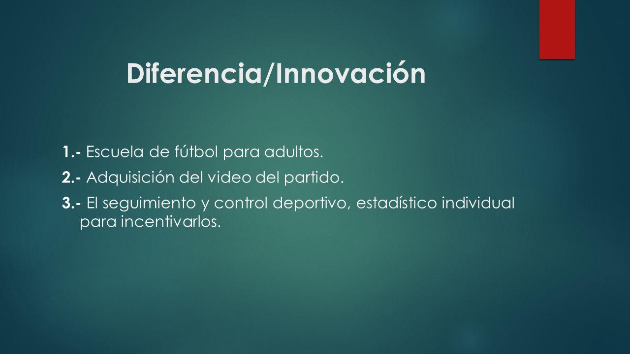 Diferencia/Innovación 1.- Escuela de fútbol para adultos. 2.- Adquisición del video del partido. 3.- El seguimiento y control deportivo, estadístico i