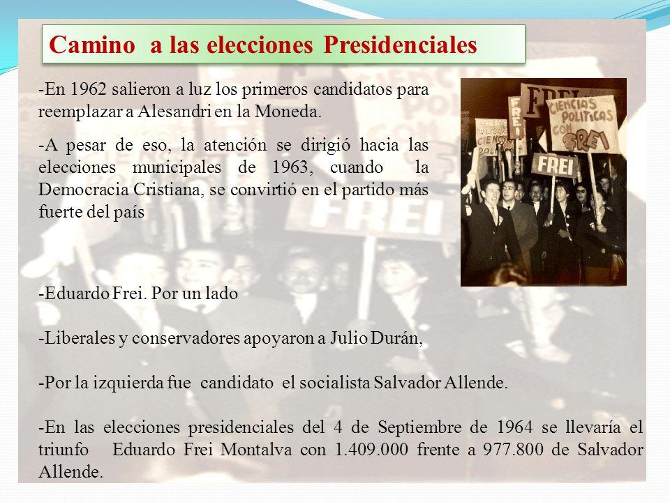 Camino a las elecciones Presidenciales - En 1962 salieron a luz los primeros candidatos para reemplazar a Alesandri en la Moneda. -A pesar de eso, la