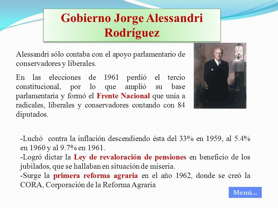 Gobierno Jorge Alessandri Rodríguez Alessandri sólo contaba con el apoyo parlamentario de conservadores y liberales. En las elecciones de 1961 perdió