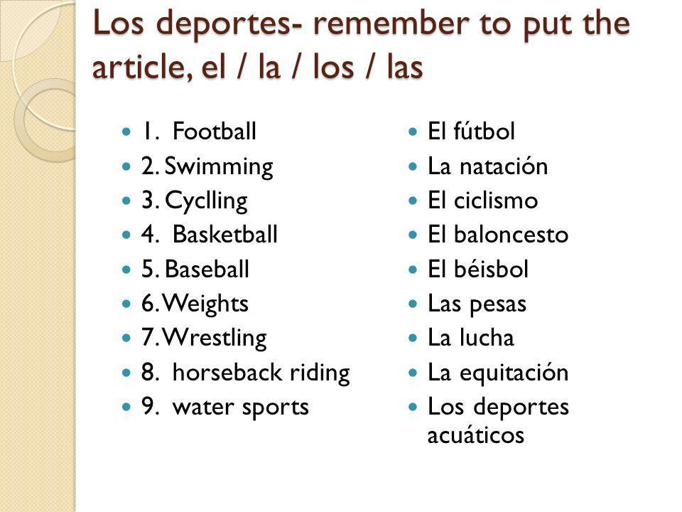 Los deportes- remember to put the article, el / la / los / las 1.