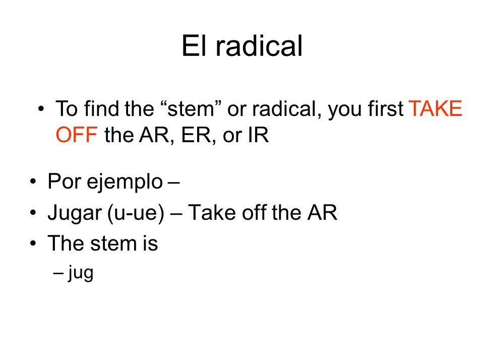 El radical Por ejemplo – Jugar (u-ue) – Take off the AR The stem is –jug To find the stem or radical, you first TAKE OFF the AR, ER, or IR