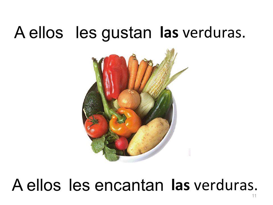 las verduras. les gustanA ellos las verduras. les encantan 11