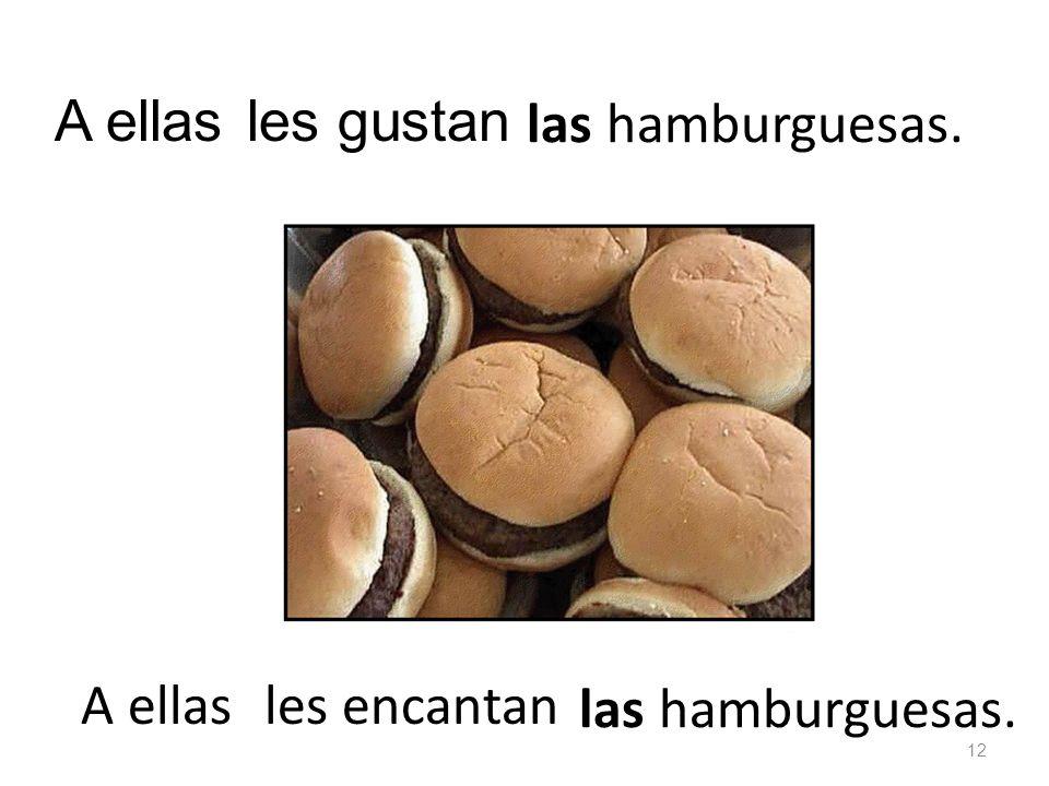 las hamburguesas. les gustanA ellas las hamburguesas. les encantan 12