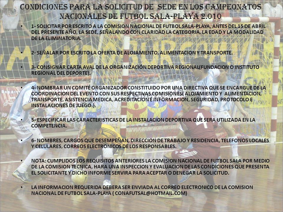 CONDICIONES PARA LA SOLICITUD DE SEDE EN LOS CAMPEONATOS NACIONALES DE FUTBOL SALA-PLAYA 2.010 1- SOLICITAR POR ESCRITO A LA COMISION NACIONAL DE FUTB
