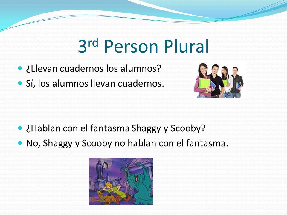 3 rd Person Plural ¿Llevan cuadernos los alumnos.Sí, los alumnos llevan cuadernos.