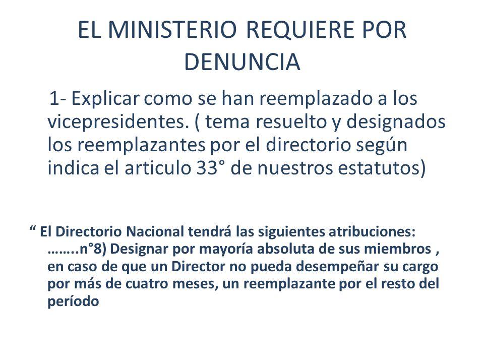 EL MINISTERIO REQUIERE POR DENUNCIA 1- Explicar como se han reemplazado a los vicepresidentes. ( tema resuelto y designados los reemplazantes por el d