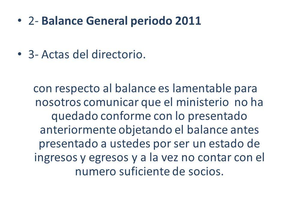 2- Balance General periodo 2011 3- Actas del directorio. con respecto al balance es lamentable para nosotros comunicar que el ministerio no ha quedado