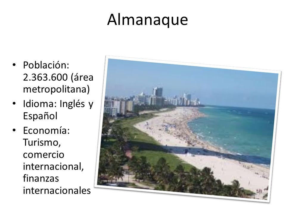 Almanaque Población: 2.363.600 (área metropolitana) Idioma: Inglés y Español Economía: Turismo, comercio internacional, finanzas internacionales