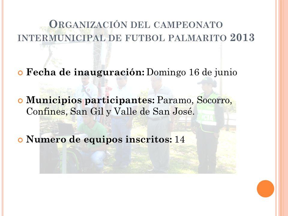 O RGANIZACIÓN DEL CAMPEONATO INTERMUNICIPAL DE FUTBOL PALMARITO 2013 Fecha de inauguración: Domingo 16 de junio Municipios participantes: Paramo, Socorro, Confines, San Gil y Valle de San José.