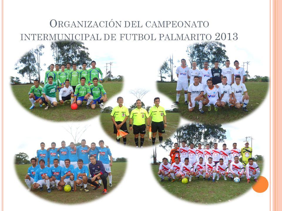 O RGANIZACIÓN DEL CAMPEONATO INTERMUNICIPAL DE FUTBOL PALMARITO 2013