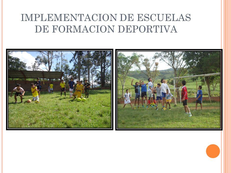 IMPLEMENTACION DE ESCUELAS DE FORMACION DEPORTIVA