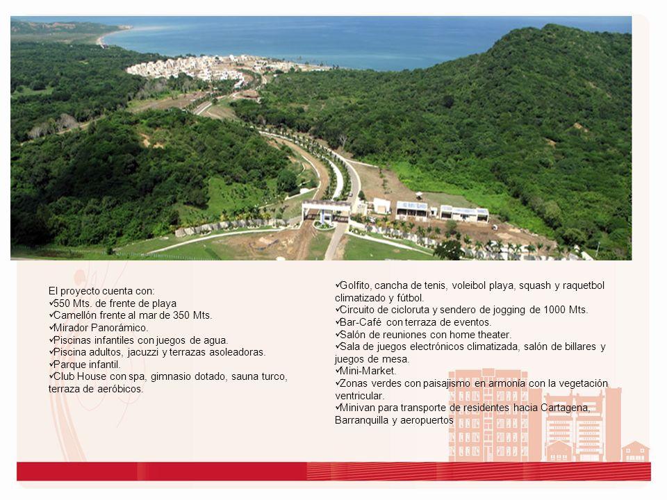 El proyecto cuenta con: 550 Mts. de frente de playa Camellón frente al mar de 350 Mts. Mirador Panorámico. Piscinas infantiles con juegos de agua. Pis