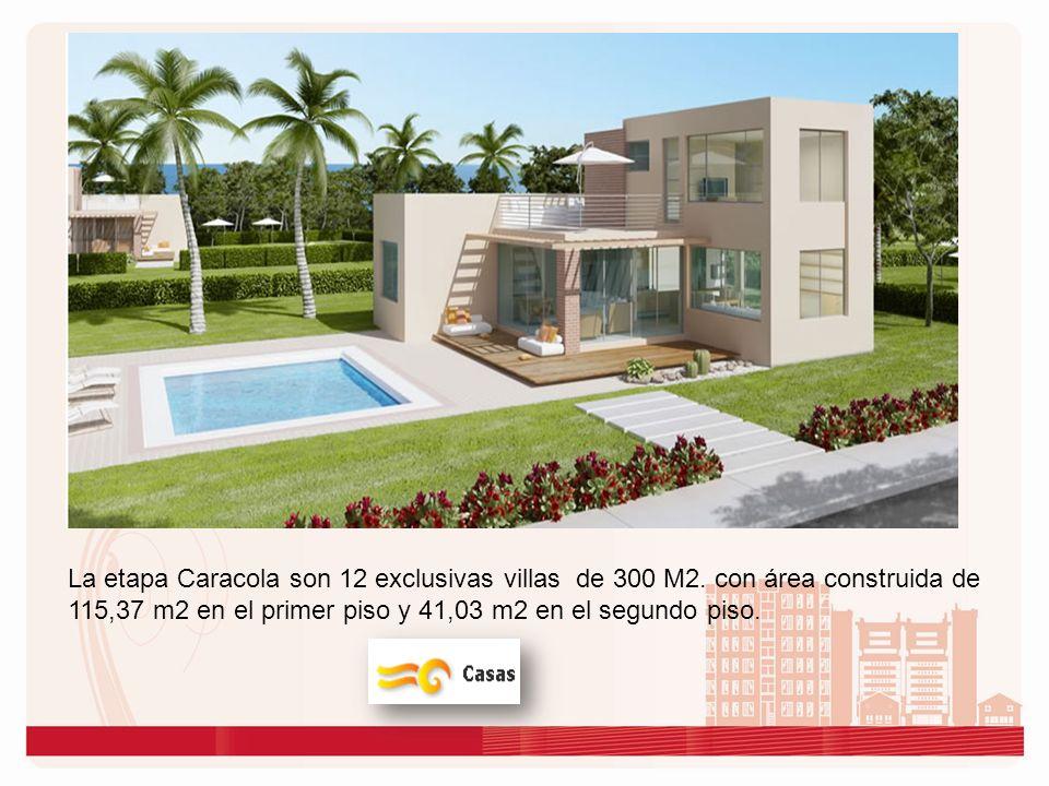 La etapa Caracola son 12 exclusivas villas de 300 M2. con área construida de 115,37 m2 en el primer piso y 41,03 m2 en el segundo piso.