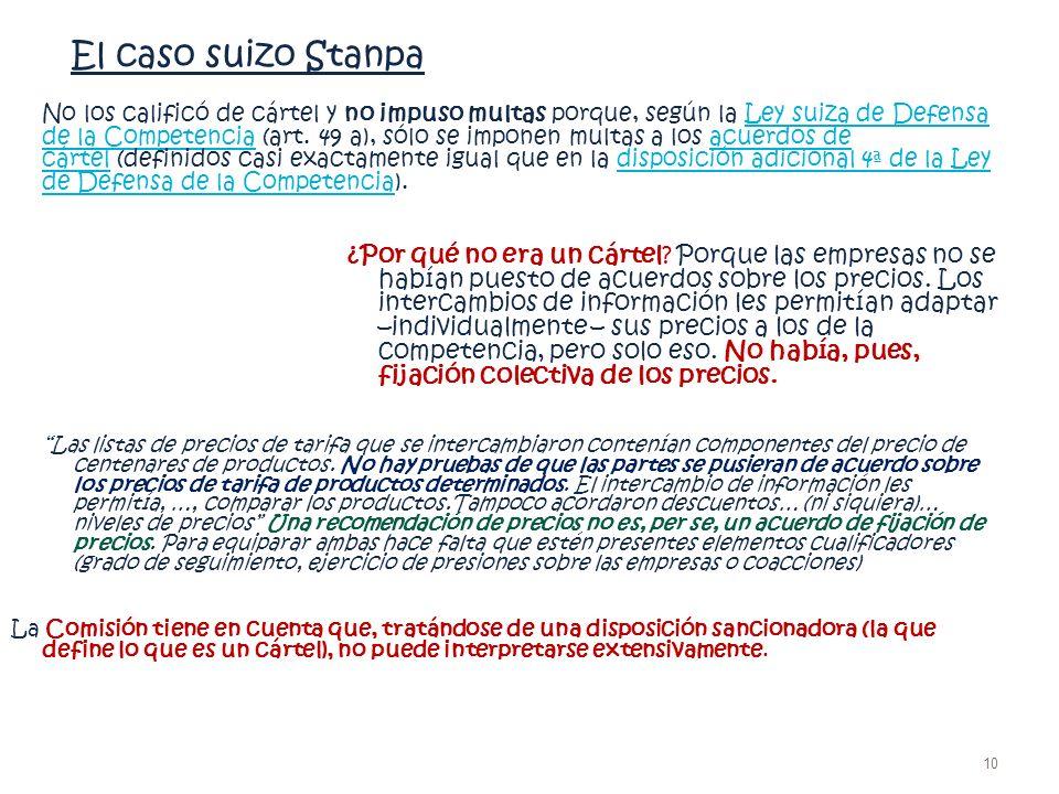 El caso suizo Stanpa No los calificó de cártel y no impuso multas porque, según la Ley suiza de Defensa de la Competencia (art. 49 a), sólo se imponen