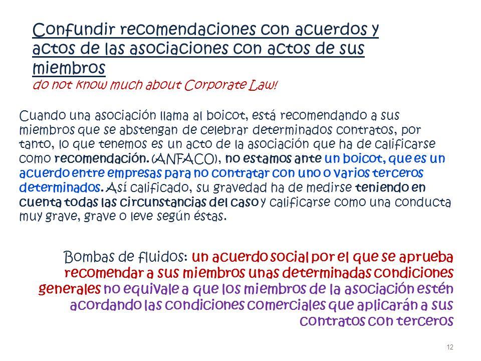 Confundir recomendaciones con acuerdos y actos de las asociaciones con actos de sus miembros do not know much about Corporate Law! Cuando una asociaci