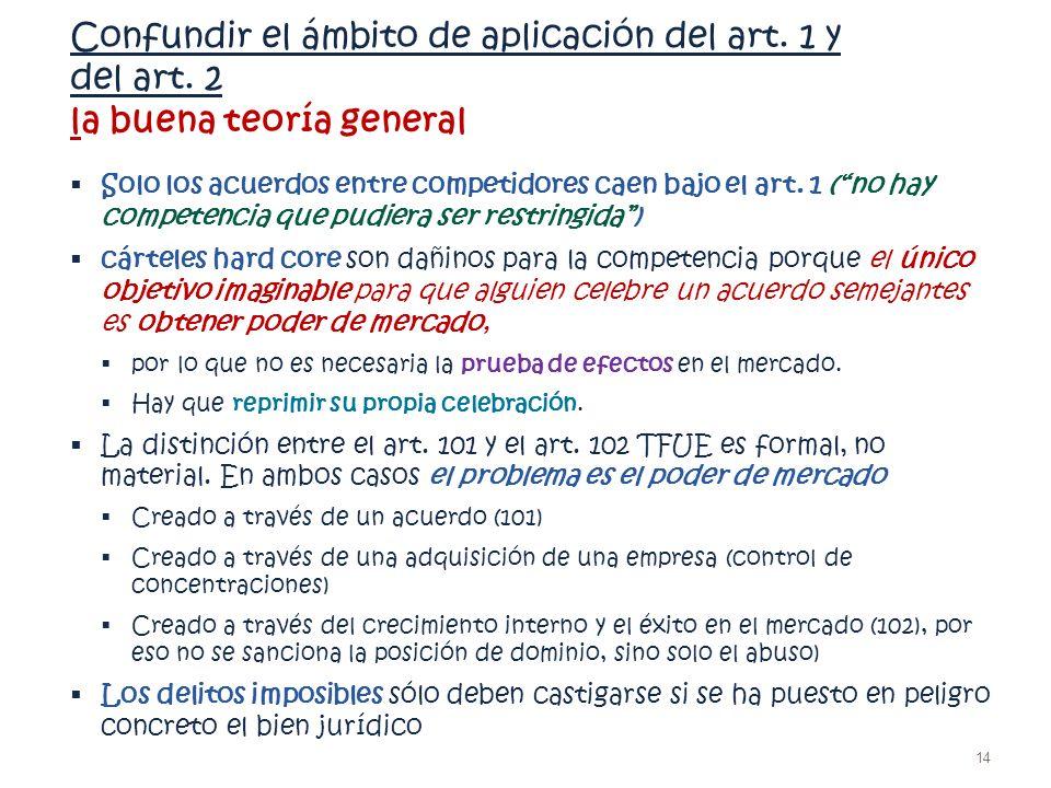 Confundir el ámbito de aplicación del art. 1 y del art. 2 la buena teoría general Solo los acuerdos entre competidores caen bajo el art. 1 (no hay com