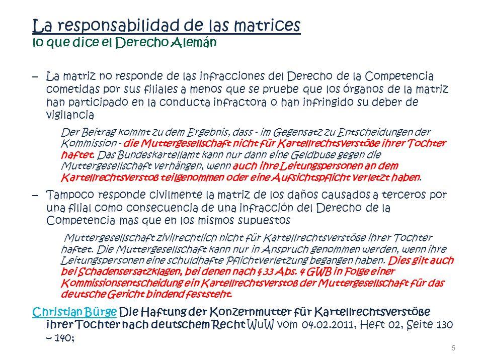 La responsabilidad de las matrices lo que dice el Derecho Alemán – La matriz no responde de las infracciones del Derecho de la Competencia cometidas p