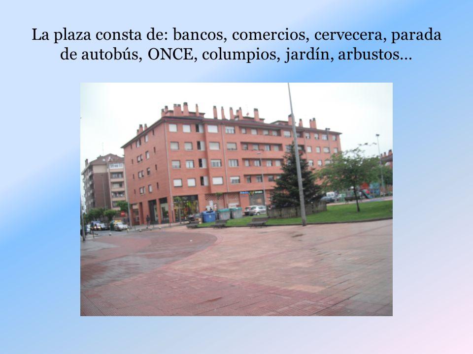 La plaza consta de: bancos, comercios, cervecera, parada de autobús, ONCE, columpios, jardín, arbustos…