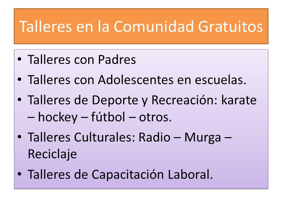 Talleres en la Comunidad Gratuitos Talleres con Padres Talleres con Adolescentes en escuelas. Talleres de Deporte y Recreación: karate – hockey – fútb