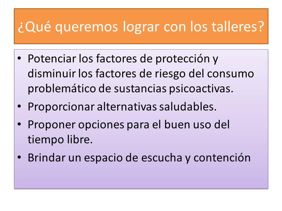 ¿Qué queremos lograr con los talleres? Potenciar los factores de protección y disminuir los factores de riesgo del consumo problemático de sustancias