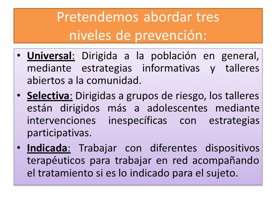 Pretendemos abordar tres niveles de prevención: Universal: Dirigida a la población en general, mediante estrategias informativas y talleres abiertos a