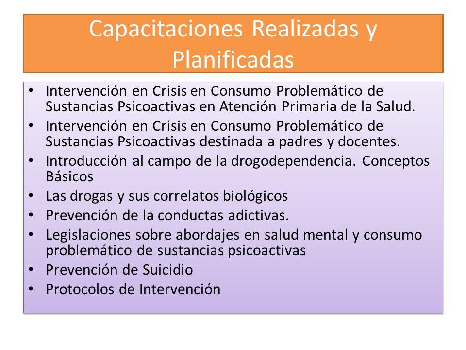 Capacitaciones Realizadas y Planificadas Intervención en Crisis en Consumo Problemático de Sustancias Psicoactivas en Atención Primaria de la Salud. I