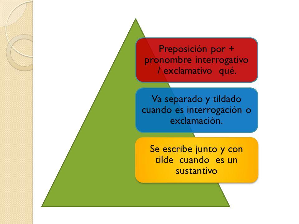 Preposición por + pronombre interrogativo / exclamativo qué. Va separado y tildado cuando es interrogación o exclamación. Se escribe junto y con tilde