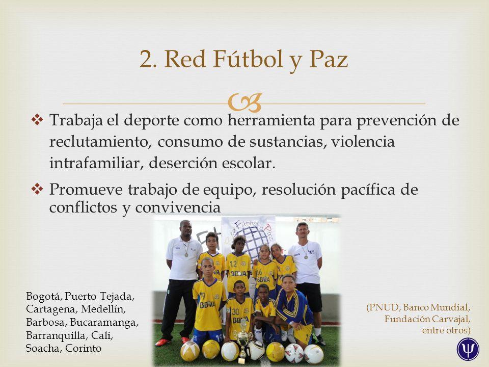 Trabaja el deporte como herramienta para prevención de reclutamiento, consumo de sustancias, violencia intrafamiliar, deserción escolar.