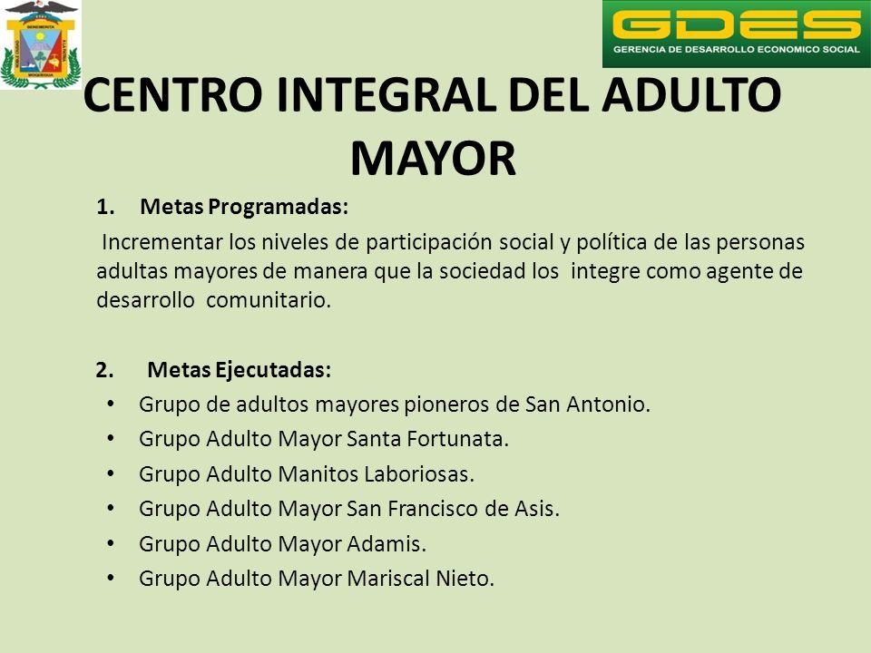CENTRO INTEGRAL DEL ADULTO MAYOR 1.Metas Programadas: Incrementar los niveles de participación social y política de las personas adultas mayores de ma