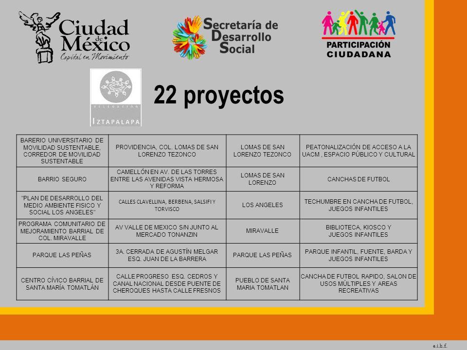 e.i.h.f. 22 proyectos BARERIO UNIVERSITARIO DE MOVILIDAD SUSTENTABLE, CORREDOR DE MOVILIDAD SUSTENTABLE PROVIDENCIA, COL. LOMAS DE SAN LORENZO TEZONCO