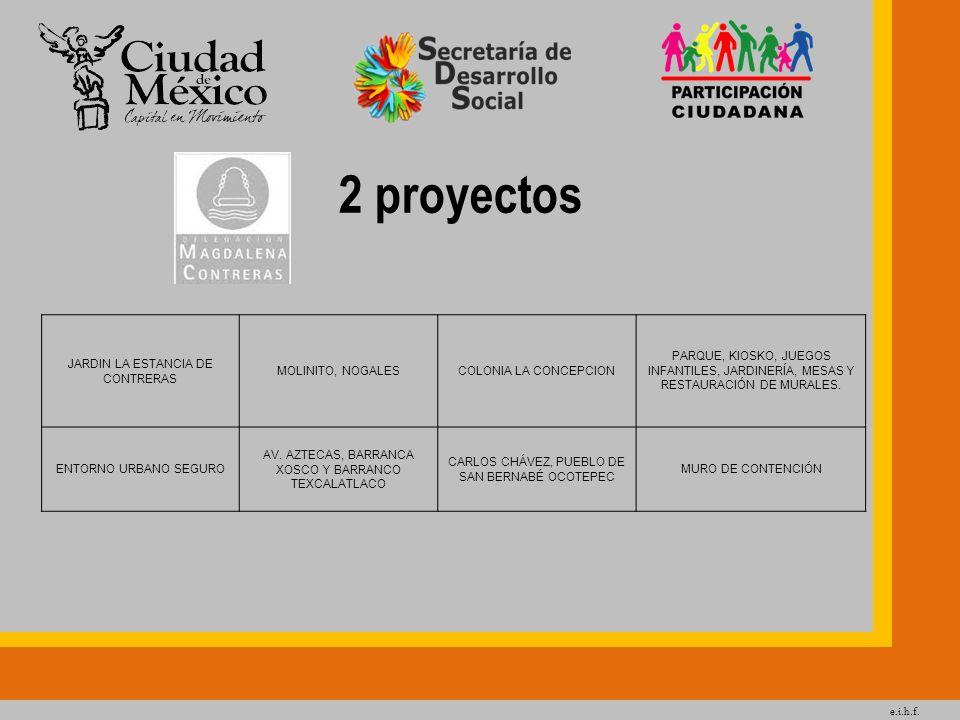 e.i.h.f. 2 proyectos JARDIN LA ESTANCIA DE CONTRERAS MOLINITO, NOGALESCOLONIA LA CONCEPCION PARQUE, KIOSKO, JUEGOS INFANTILES, JARDINERÍA, MESAS Y RES