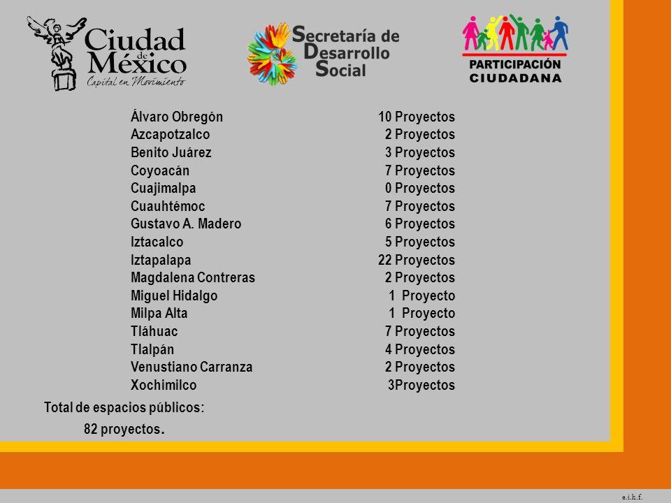 e.i.h.f. Total de espacios públicos: 82 proyectos. Álvaro Obregón Azcapotzalco Benito Juárez Coyoacán Cuajimalpa Cuauhtémoc Gustavo A. Madero Iztacalc