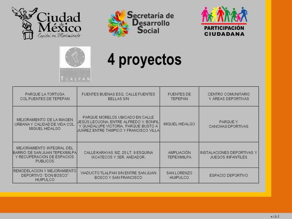 e.i.h.f. 4 proyectos PARQUE LA TORTUGA COL.FUENTES DE TEPEPAN FUENTES BUENAS ESQ. CALLE FUENTES BELLAS S/N FUENTES DE TEPEPAN CENTRO COMUNITARIO Y ÁRE