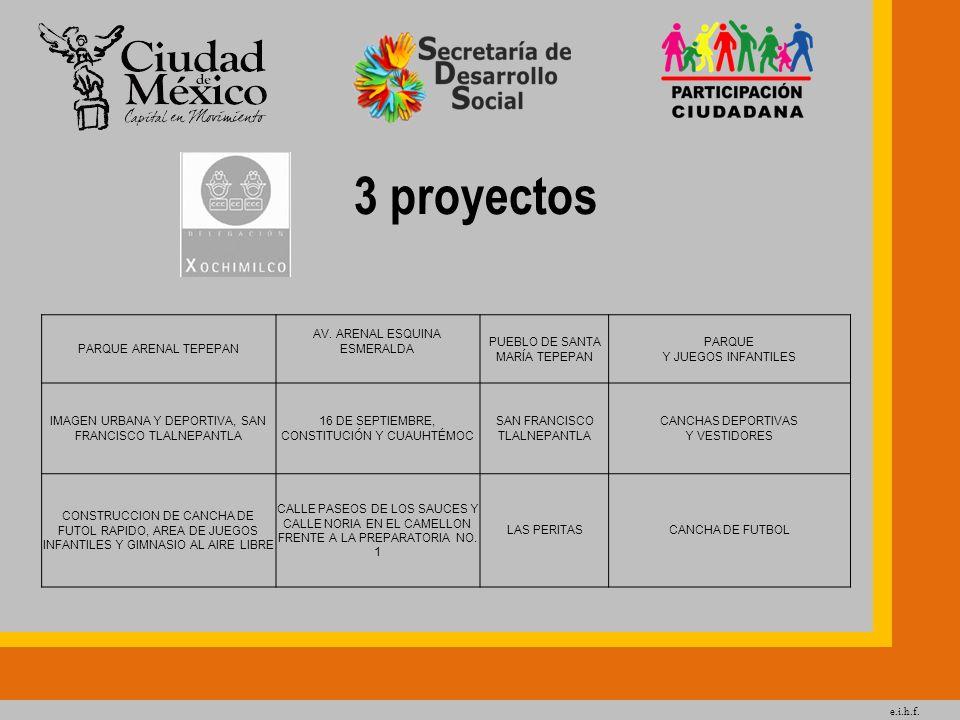 e.i.h.f. 3 proyectos PARQUE ARENAL TEPEPAN AV. ARENAL ESQUINA ESMERALDA PUEBLO DE SANTA MARÍA TEPEPAN PARQUE Y JUEGOS INFANTILES IMAGEN URBANA Y DEPOR