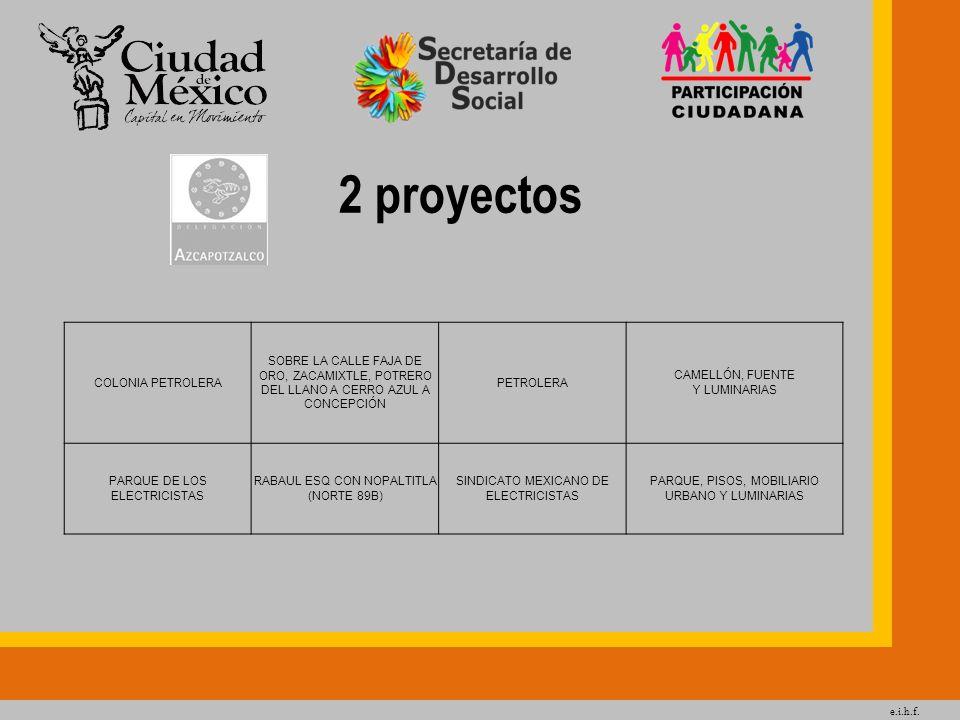 e.i.h.f. 2 proyectos COLONIA PETROLERA SOBRE LA CALLE FAJA DE ORO, ZACAMIXTLE, POTRERO DEL LLANO A CERRO AZUL A CONCEPCIÓN PETROLERA CAMELLÓN, FUENTE
