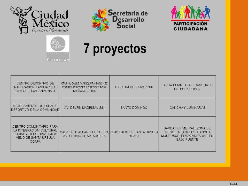e.i.h.f. 7 proyectos CENTRO DEPORTIVO DE INTEGRACION FAMILIAR U.H. CTM CULHUACAN ZONA III CTM III, CALLE MARIQUITA SANCHEZ ENTRE MERCEDEZ ABREGO Y ROS