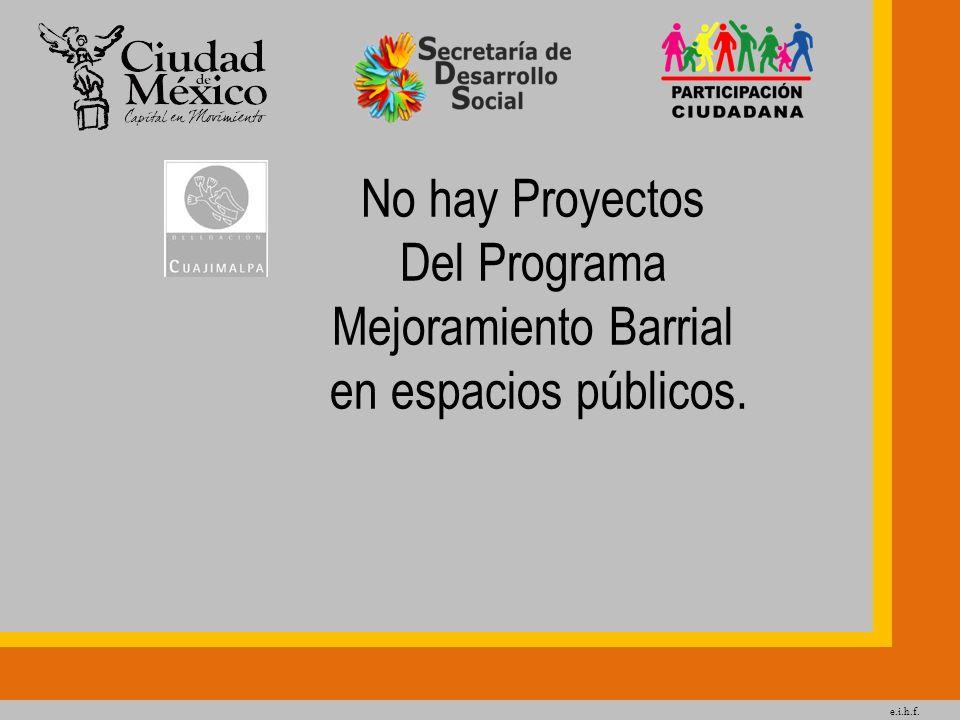 e.i.h.f. No hay Proyectos Del Programa Mejoramiento Barrial en espacios públicos.