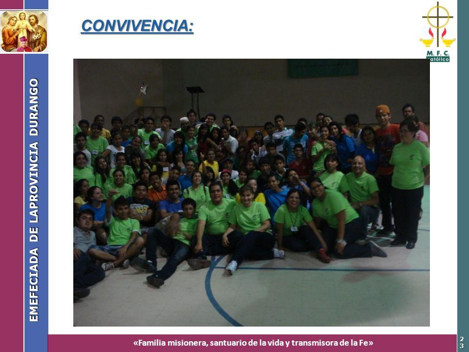 «Familia misionera, santuario de la vida y transmisora de la Fe» EMEFECIADA DE LAPROVINCIA DURANGO 2323 CONVIVENCIA: