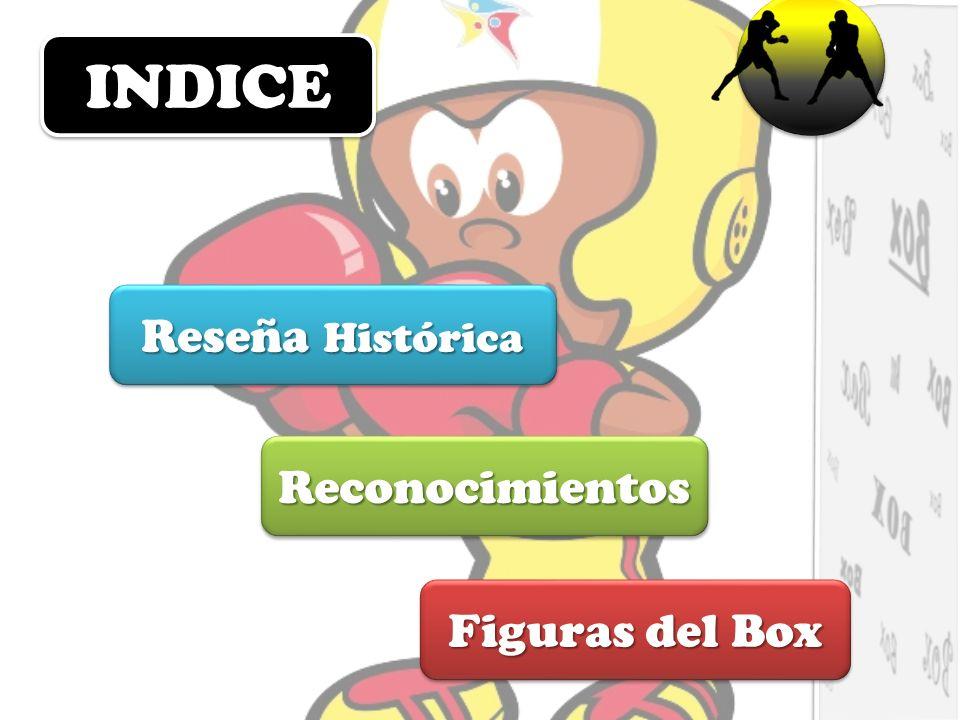 INDICEINDICE Figuras del Box Figuras del Box Figuras del Box Figuras del Box Reconocimientos Reseña Histórica Reseña Histórica Reseña Histórica Reseña