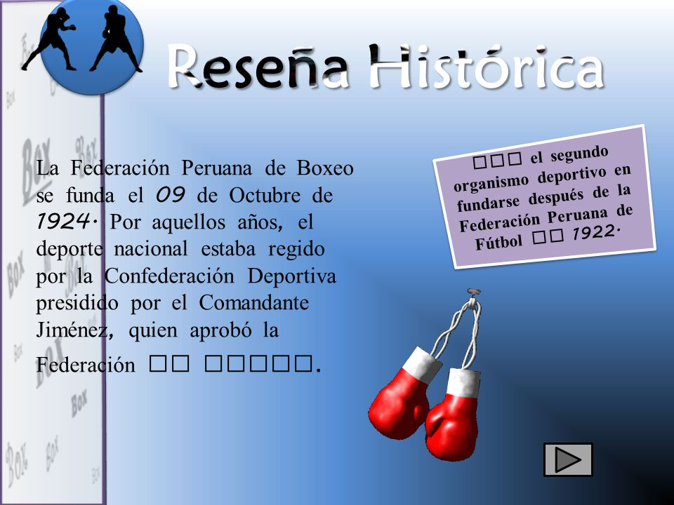 Fue el segundo organismo deportivo en fundarse después de la Federación Peruana de Fútbol en 1922. La Federación Peruana de Boxeo se funda el 09 de Oc