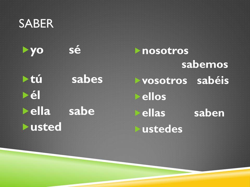 EXAMPLES OF SABER 1.Yo __ hablar español. 2. Nosotros no __ escuchar.