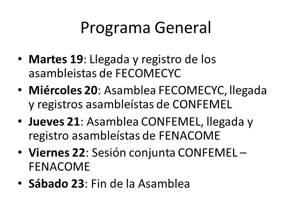 Programa General Martes 19: Llegada y registro de los asambleistas de FECOMECYC Miércoles 20: Asamblea FECOMECYC, llegada y registros asambleístas de