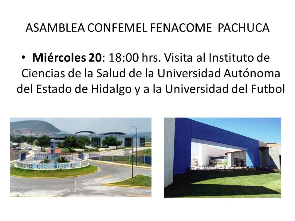 ASAMBLEA CONFEMEL FENACOME PACHUCA Miércoles 20: 18:00 hrs. Visita al Instituto de Ciencias de la Salud de la Universidad Autónoma del Estado de Hidal