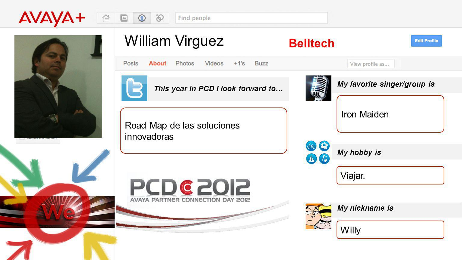 William Virguez This year in PCD I look forward to… Belltech Road Map de las soluciones innovadoras My favorite singer/group is My hobby is My nicknam
